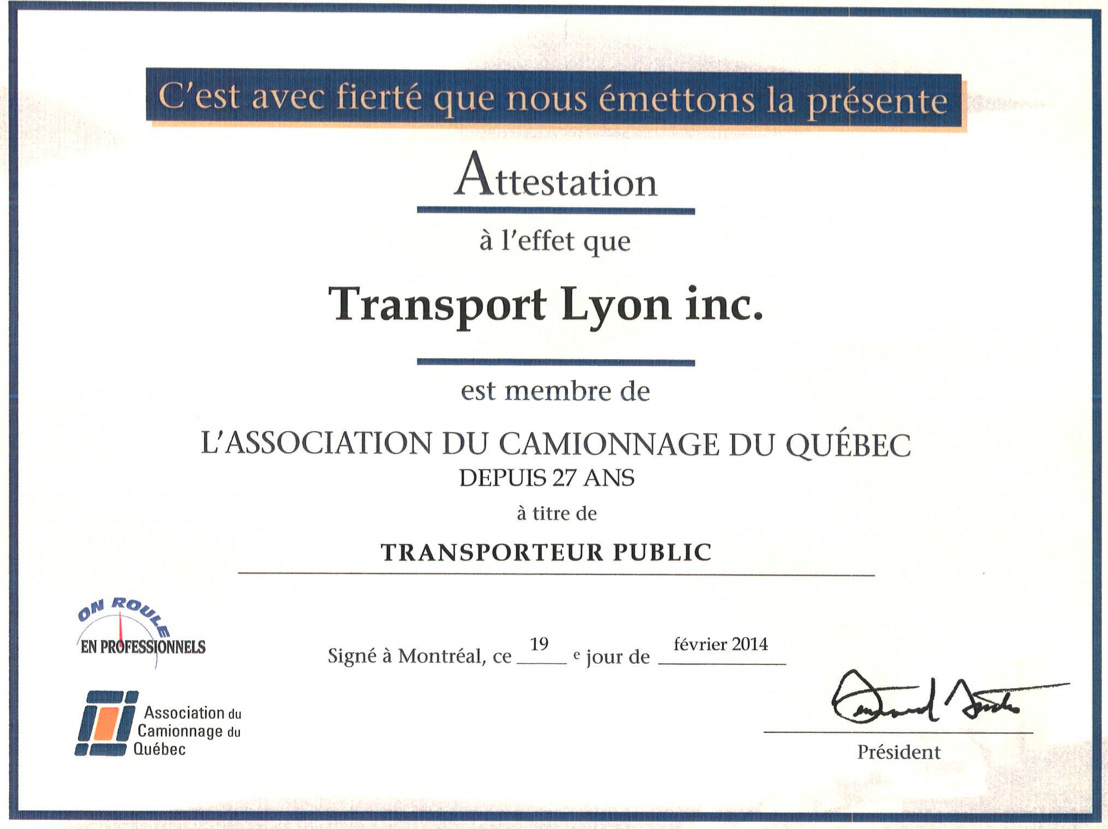 Attestation de l'Association du Camionage du Québec